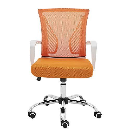 Modern Home Zuna Mid-Back Office Task Chair - Ergonomic Back Supporting Mesh Back Desk Chair (White/Orange)