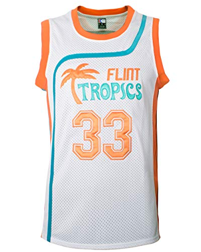 MOLPE Moon 33 Flint Tropics Basketball Jersey and Shorts, Halloween Costume, 90S Hip Hop Clothing (33-White, M)