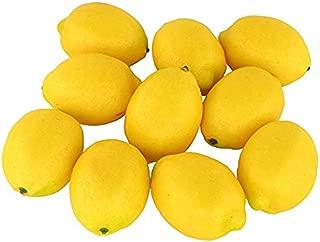 SENREAL 10 pcs Artificial Lemon Fake Lemon Lifelike Fruit Decorative for Home Kitchen Party Pub Cabinet Ornament - Yellow