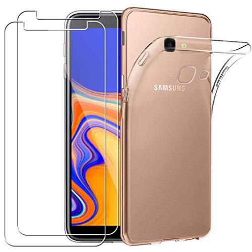 YOOWEI Coque Samsung Galaxy J4 Plus 2018 Transparente + [2 Pack Verre trempé écran Protecteur], Ultra Fin Transparente Silicone Gel TPU Etui de Protection Housse Antichoc pour Samsung Galaxy J4+ 2018