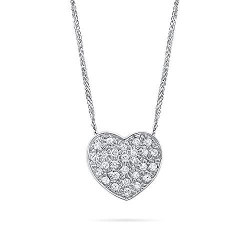Collana donna oro bianco 18 kt cuore pavè di diamanti 0,32 ct
