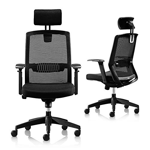 Ergonomic Office Chair, High Back Desk Chair, Adjustable Home Office Mesh Chair with Headrest Lifted Armrest, Silent Rolling Task Computer Chair