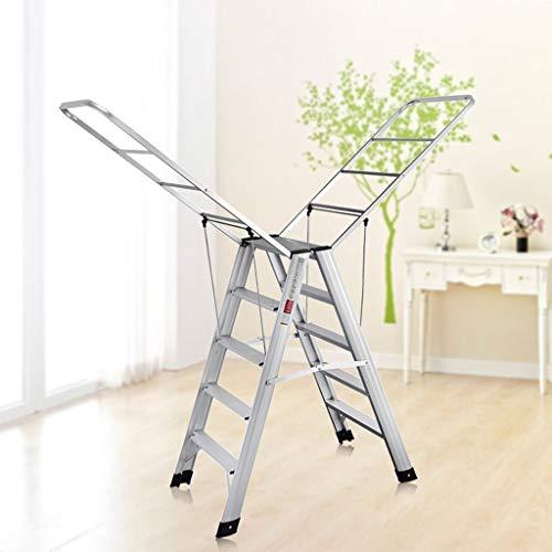 Escalera plegable en espiga, escalera multifunción, escalera de aleación de aluminio, 5 peldaños y altura de 97 cm, plateado