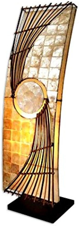 Dekoleuchte Design Deko Lampe Quento 70 cm hoch, Stehleuchte eckig aus Naturmaterial Rattan braun Capis wei, Stimmungslicht Stimmungsleuchte