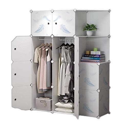 XMDDX Kledingkast, draagbaar, voor slaapkamer, kledingkast, kledingkast, organizer met deuren, robuust en duurzaam