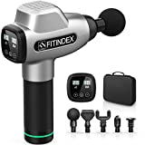 Muscle Massage Gun, FITINDEX Powerful Percussion Massage Gun Deep Tissue, Up to 20 Speeds Handheld Muscle Massager Gun Electric for Athletes