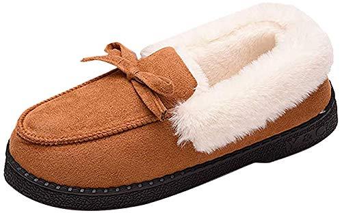 Sisttke Inverno Pantofole Donna Peluche Caldo Impermeabile Ecopelliccia Antiscivolo Comode Pantofole per Autunno Interno Esterno