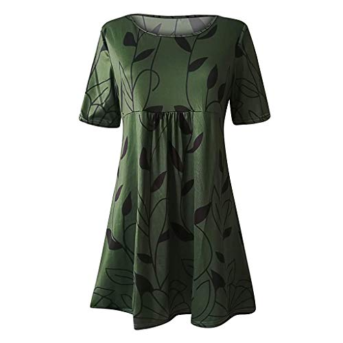 TWIFER Damen Casual Loose Tunika Kurzarm T-Shirt Kleid Sommerkleid Bedrucktes Kleid mit Rundhalsausschnitt