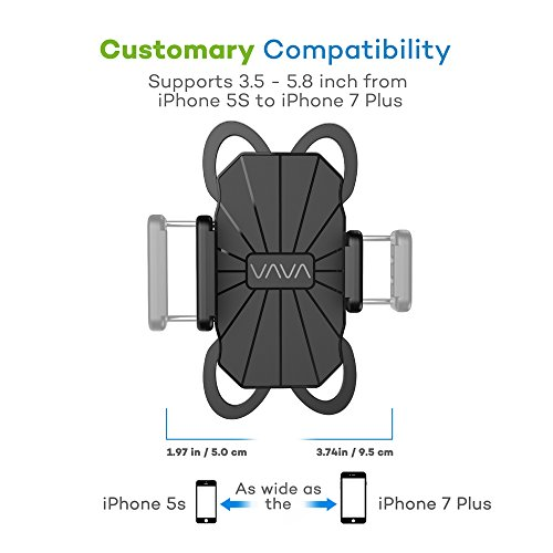 VAVA Phone Holder for Bike, Bicycle Phone Holder with Asymmetric Design, Compatible with iPhone Xs X 8 7 6 Plus SE 5S 5C 5 Galaxy S9 S8 S7 Note 7, Lumia, LG, HTC, Huawei, BlackBerry and More