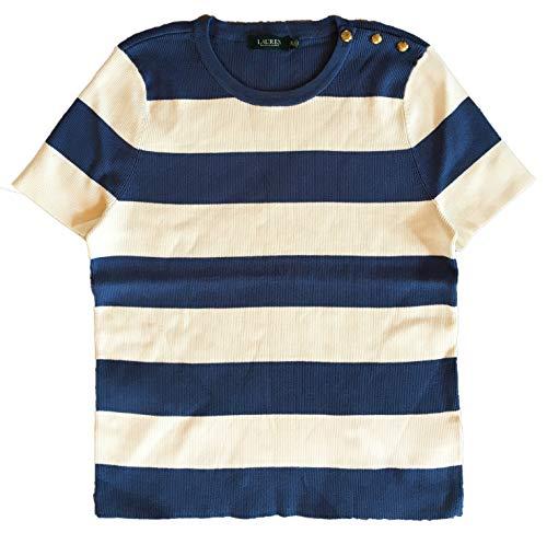 LAUREN RALPH LAUREN Plus Size Striped Button-Trim Sweater Pottery Blue/Mascarpone Cream 1X