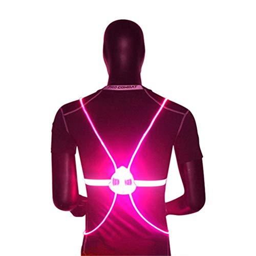 Led-reflectorvest met 4 leds veiligheidsvest zichtbaar 200 m reflector reflecterend vest veiligheidsvest voor hardlopen, nachtkastje, fietsen outdoor, sporten enz. Poeder.
