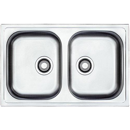 Franke EFL 620 – 78 Euroform Edelstahl Küchenspüle Spültisch Spülbecken Einbauspüle mit 2 Becken Textur Leinen,