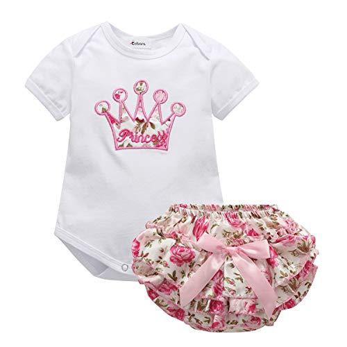BOBORA Vêtements Bébé Filles Été, Bébé Filles Ensembles Barboteuses + Florales Bloomer 0-24 Mois