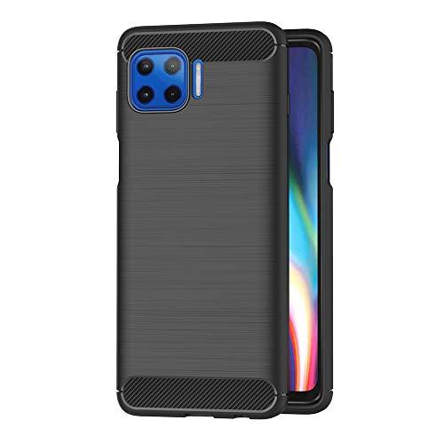 AICEK Hülle Compatible Motorola Moto G 5G Plus/Moto One Schwarz Silikon Handyhülle für Moto G 5G Plus/Moto One Schutzhülle Karbon Optik Soft Case (6,7 Zoll)