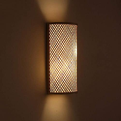 Bambú Mimbre Ratán Sombra Túnel Aplique de pared Aplique Rústico Luz Dormitorio...