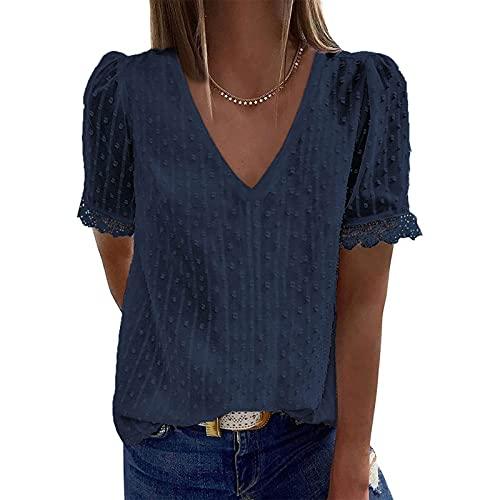 YANFANG Blusas de Mujer Elegantes,Camiseta Casual de Manga Corta con Encaje de Moda para Mujer Top de Color sólido con Cuello en V, XXL,7-Azul Marino