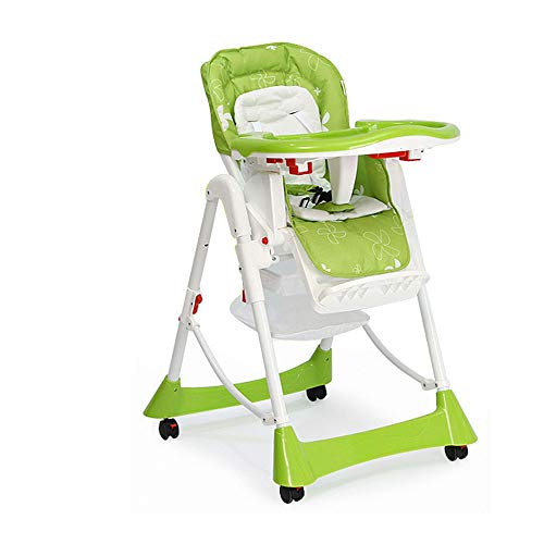 MASODHDFX Babystoel Voeding Vouwstoel en Tafel Kunststof Hoge Stoel voor Baby's Draagbare Verstelbare Hoogte Wieltje Babydiner Stoel
