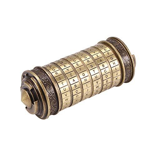 Fuoliystep Cerradura de Código da Vinci Cerradura de Contraseña Mini da Vinci Caja de Cerradura de Cilindro de Rompecabezas de Código da Vinci Cerradura de Amante con Dos Anillos para