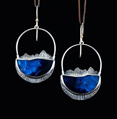 TYUTYU Vintage Moda Azul Brillante Piedra cuelga cuelga Pendientes para Las Mujeres joyería de Fiesta Boda (Main Stone Color : Blue, Metal Color : Antique Silver)