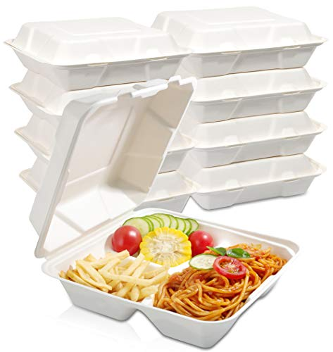 WDF 100Pack 100% Food Containers- 3 Compartment Biodegradable Clamshell Take Out Food Containers-8inch Togo Containers with Lid Made of Sugar Cane Fibers-Microwave Safe