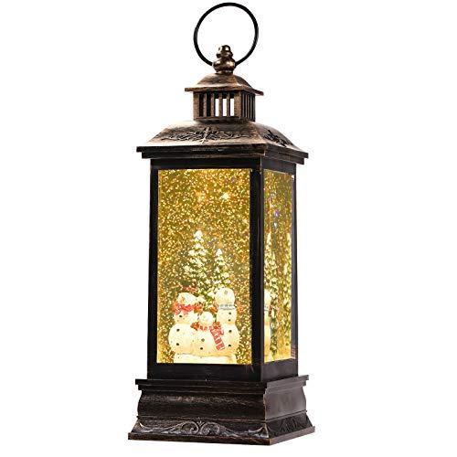 Linterna de Navidad Llena de Agua, Linterna de Globo de Nieve LED Musical, Funciona con Batería/ USB, Temporizador de 6 Horas, Linterna de Muñeco de Nieve Brillante Decoraciones Navideñas de Interior