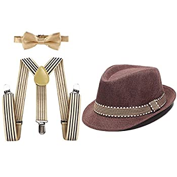 MYRISAM Kids 1920 s Themed Party Costume Accessories Set Fedora Gangster Hat Adjustable Suspenders Bow Tie 3pcs Outfit Coffee 2-6T