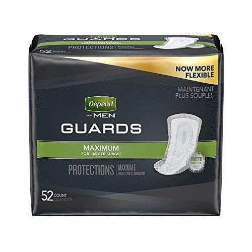Depend Men Guards Maximum Absorbency 52 CT (Pack of 4)