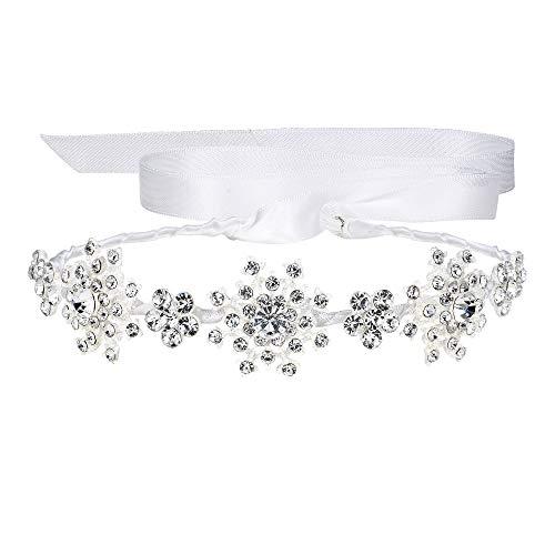EVER FAITH Österreichischer Kristall Bridal Boho Schneeflocke Blumenband Haarband Klar Silber-Ton