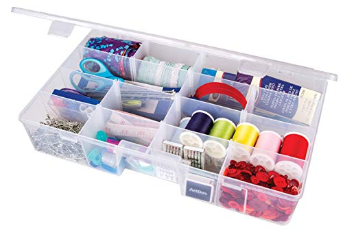 ArtBin XL Solutions Box with Dividers Art & Craft Organizer [1] Plastic Storage Case Clear, 15.25