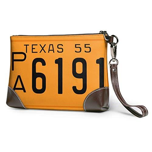 Texas 1955 License Plate Bolso de mano de cuero, bolso de maquillaje, bolso de mano, monedero, cartera, bolso de mano para teléfono, monedero, bolso de mano, bolso de mano para mujeres y niñas