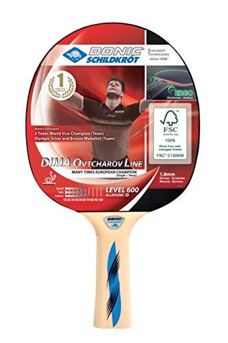 Donic-Schildkröt Tischtennisschläger Ovtcharov 600 FSC, Ergo-Griff, 1,8 mm Schwamm, FSC Holz, Prestige - ITTF Belag, 724406