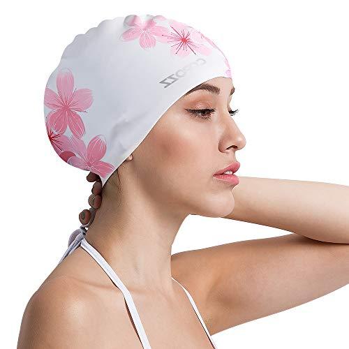 COPOZZ Erwachsene Badekappe, Unisex Wasserdicht Schwimmkappe für Herren Damen, Lange Haare Silikon Swimming Cap Bademütze für Männer Frauen (Blumen-Kirsche)