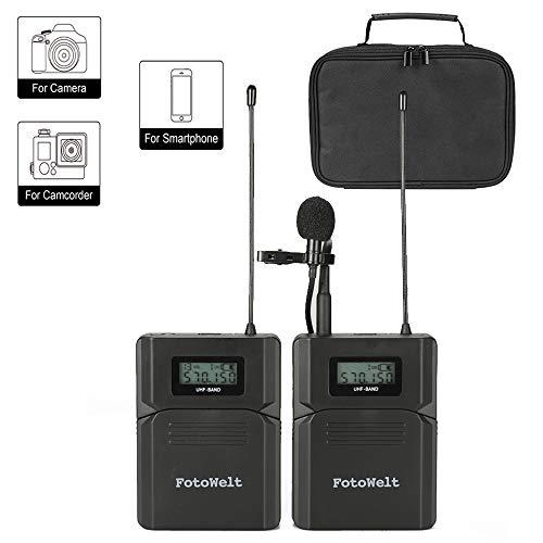 Pixel UHF 6 Kanäle Wireless Lavalier Mikrofon für Kamera Kabellos Lavalier mikrofon Funk Ansteckmikrofon für DSLR Canon Nikon Sony Camera und Smartphone