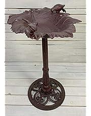 Moritz Poidło dla ptaków, wysokość 77 cm, brązowe, żeliwo, masywne poidło dla dzikich ptaków do ogrodu, kształt liścia, poidło dla ptaków ze stojakiem, antyczny design