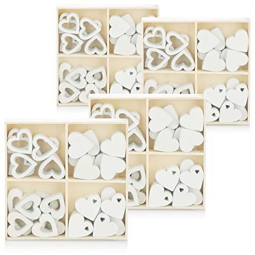 com-four® 128x Herz Streudeko - Kleine Herzen aus Holz in Vier Designs - Holz-Herzen für Tischdeko im Frühling, an Ostern, auf Hochzeiten (128 Stück Herz)