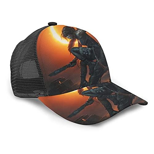 Yoohome Tomb Raider Gorras de béisbol Snapback Sombrero de deportes de secado rápido Running Caps para verano negro