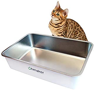Ohmakers OhmBox - Stainless Steel Cat Litter Box, Extra Large, Never Absorbs Odors,