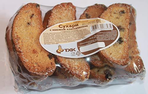 Classic crackers with raisins and sugar 10.5oz Product of Russia Сухари с изюмом классические с отделкой сахаром 'ТХК' Sukhari