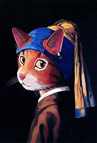 XXYHYQHJD Pintura por números Pendiente de Perla Cat Girl para Adultos y niños Pintar DIY al óleo de Bricolajecon Marco Personalizado Kit Pinceles Principiantes Lienzo Decoraciones 40X50CM