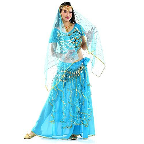 MEIGUI Belly Dance Tops Falda Set Ruffle Buel Welly Falda Banco Danza Traje Blue 3Set-One Size