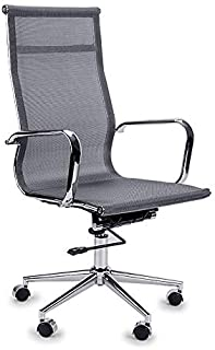 Avante Mesh Executive Office Chair with Chrome Finish and High Back Design, Grey