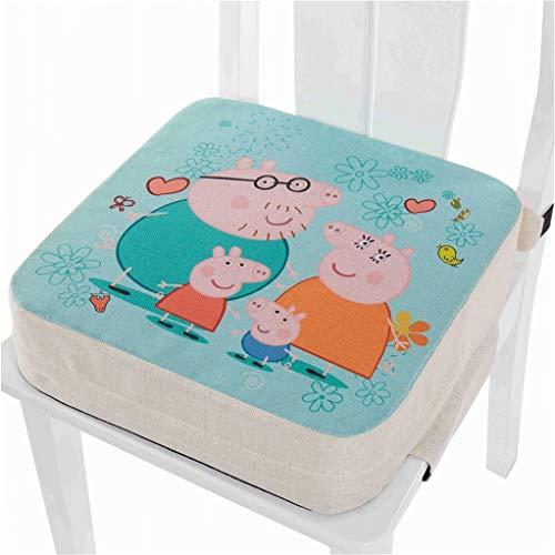 Kinder Sitzkissen Sitzerhöhung Stuhl, Enhome Baby Zerlegbar Tragbar Sitzkissen Cartoon Quadratische Kleinkinder Esszimmerstuhl ErhöHen Pad Esszimmer Boostersitze (Peppa Pig,40x40x10cm)