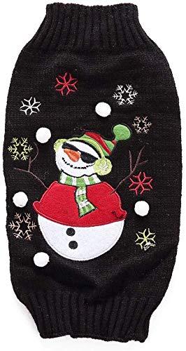 WYJW Kerst Coltrui Suit voor Hond Kleding Ademende Gebreide Trui voor Puppies Kleine Grote Hond (Kleur: Zwart, Maat: L)