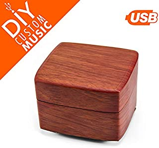 Custom Music Box - Upload Your Own Songs with USB, 15 Songs Space (up to 95MB), Exterior Matte Wood Tone Finish Musical Box with Small Compartment for Jewelry, Square Music Box with Silver Hardware