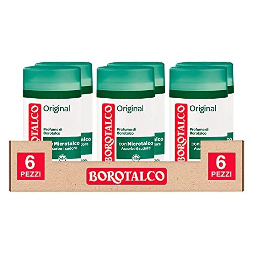 6x Borotalco Deo Stick Original Con Microtalco che Assorbe il Sudore Senza Alcool Efficace 48h - 6 Deodoranti da 40ml ognuno
