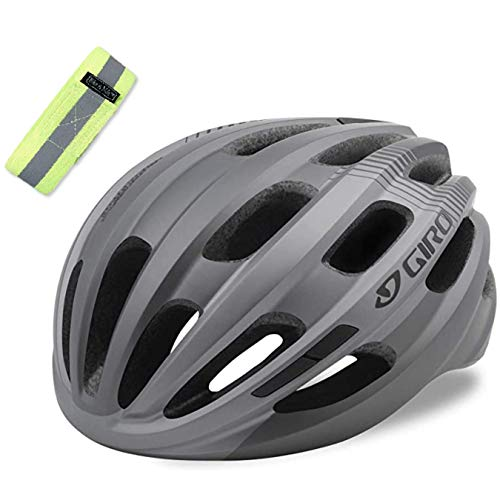 Bike A Mile Giro Helmet Giro Cycling Isode MIPS Adult Road Bike Helmet, Bicycle Helmet with A Reflective Safety Armband (Matte Titanium (2021))