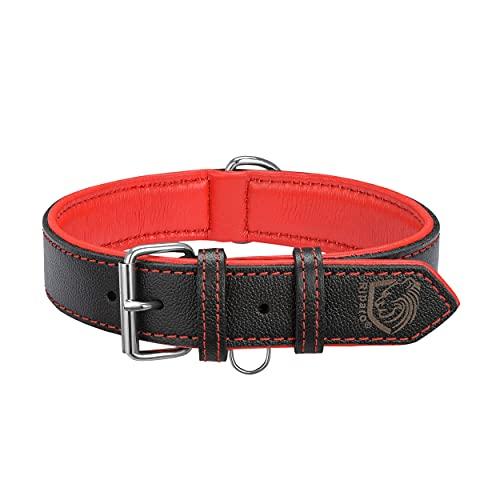Riparo Collar de perro acolchado de cuero genuino Collar de mascota ajustable K-9 fuerte (L: 3,8cm de ancho para cuello de 45,7cm - 53,3cm, Hilo Negro Rojo)