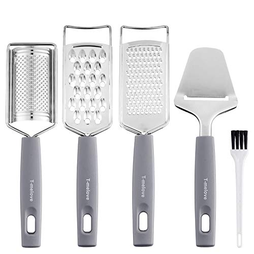 5-piece Cheese Grater Set Stainless Steel Cheese Slicer With Handle Multi-purpose Kitchen Food Grater for Vegetable, Fruit, Ginger, Chocolate With Cleaning Brush (Grey)