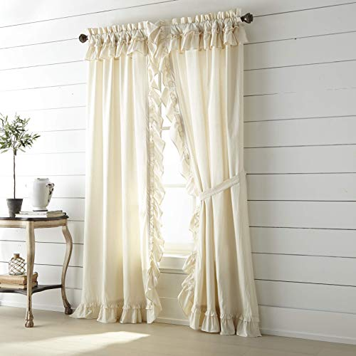 VHC Brands Muslin Ruffled Unbleached Natural Panel Pair, 84x40