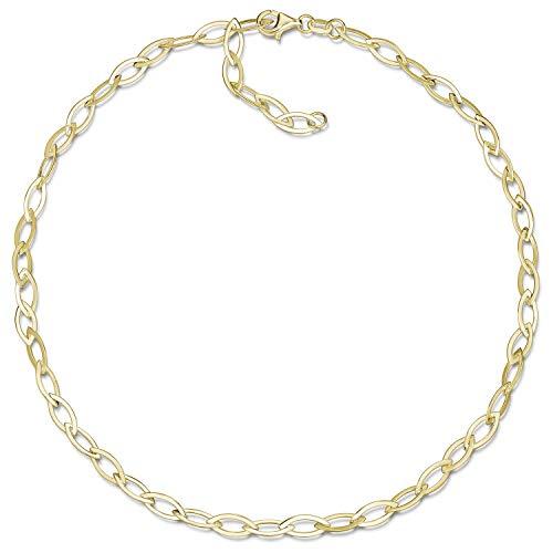 MATERIA Gold Halskette Damen 45cm - breite Damen Kette Collier Goldkette mit Schmuck Etui CO-43-Gold